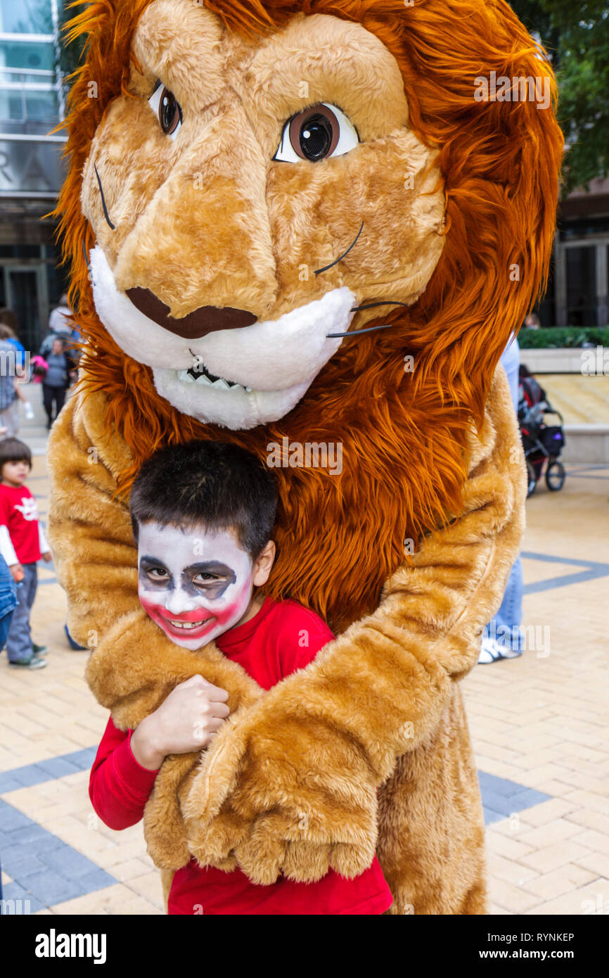 Miami Florida Adrienne Arsht Center for Performing Arts Free Family Fest festival literary character lion costume Hispanic boy c - Stock Image