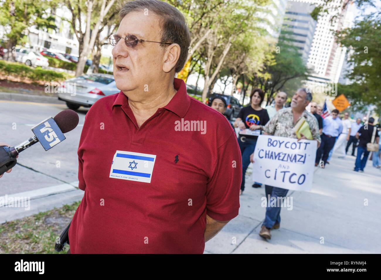 Miami Florida Brickell Avenue Venezuelan Consulate rally protest Caracas synagogue attack anti Semitism Jew Jews President Hugo - Stock Image