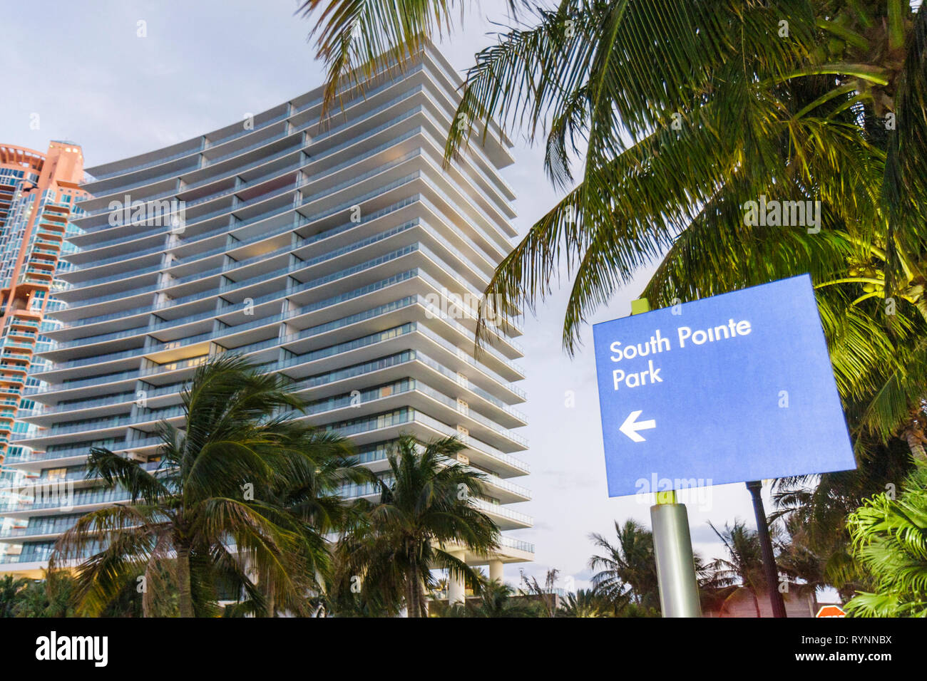 Miami Beach Florida South Beach South Pointe Apogee luxury condominium real estate residence apartment building Sieger Suarez ar - Stock Image