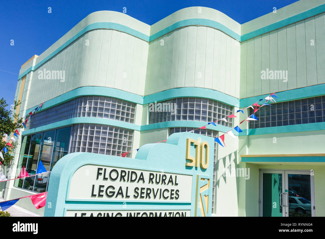 Florida Fort Ft. Pierce building commercial real estate for rent sign business glass block Florida Rural Legal Services non-prof - Stock Image
