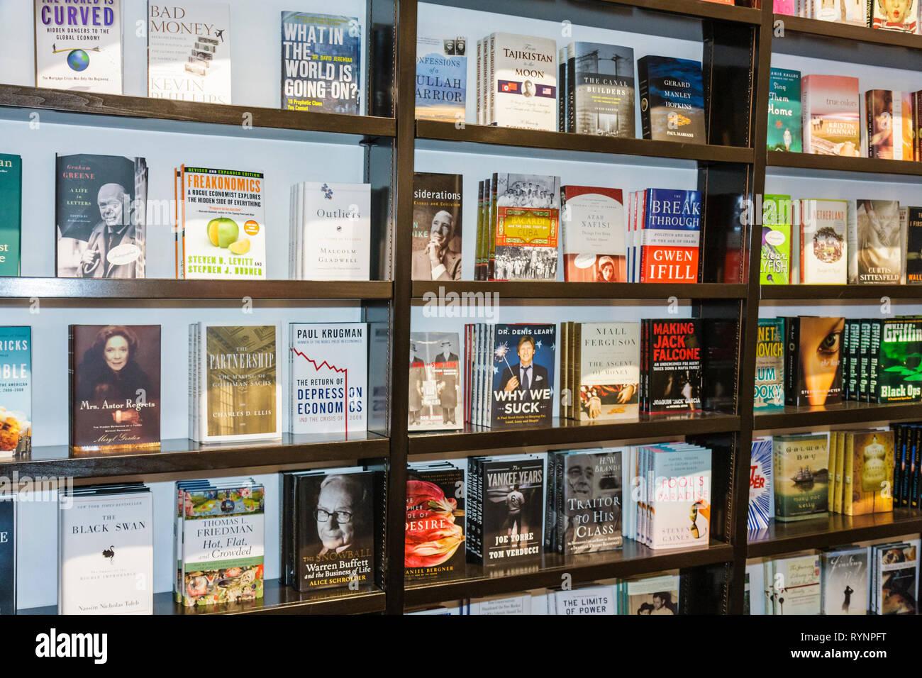 Miami Beach Florida Lincoln Road Books and Books bookstore bookshop reopening event business bookshelf topic economics economy n - Stock Image