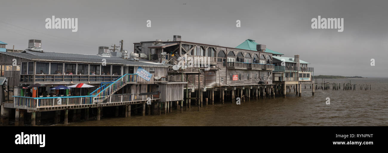 The Big Dock, multi-storey market area, on Dock Street, Cedar Key, West Florida. Stock Photo