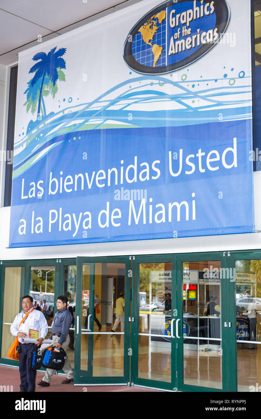 Miami Beach Miami Florida Beach Convention Center centre Graphics of the Americas Expo and Conference trade show bad translation - Stock Image