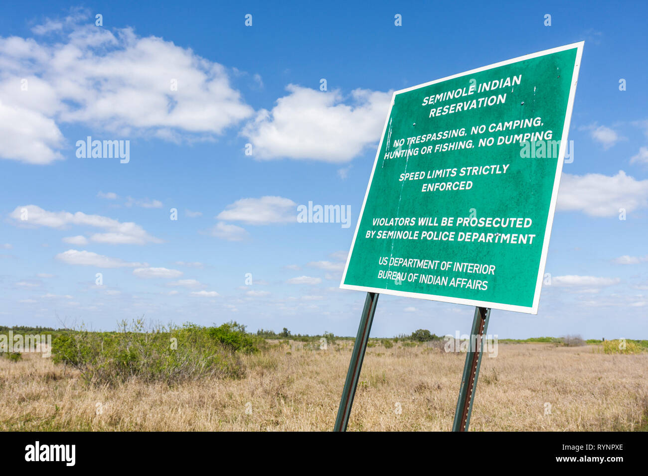 Florida, FL, South, Hendry County, Big Cypress, Seminole Indian Reservation, Native American Indian, Indian indigenous peoples, tribe, sign, logo, gre Stock Photo