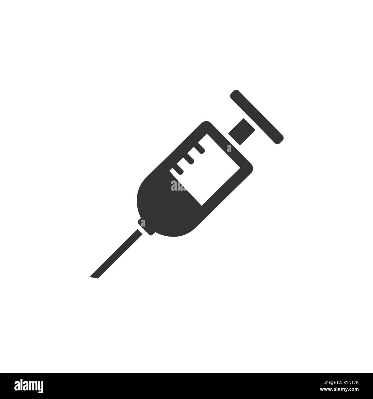 Syringe icon. Medicine icon. Isolated vector illustration - Stock Image