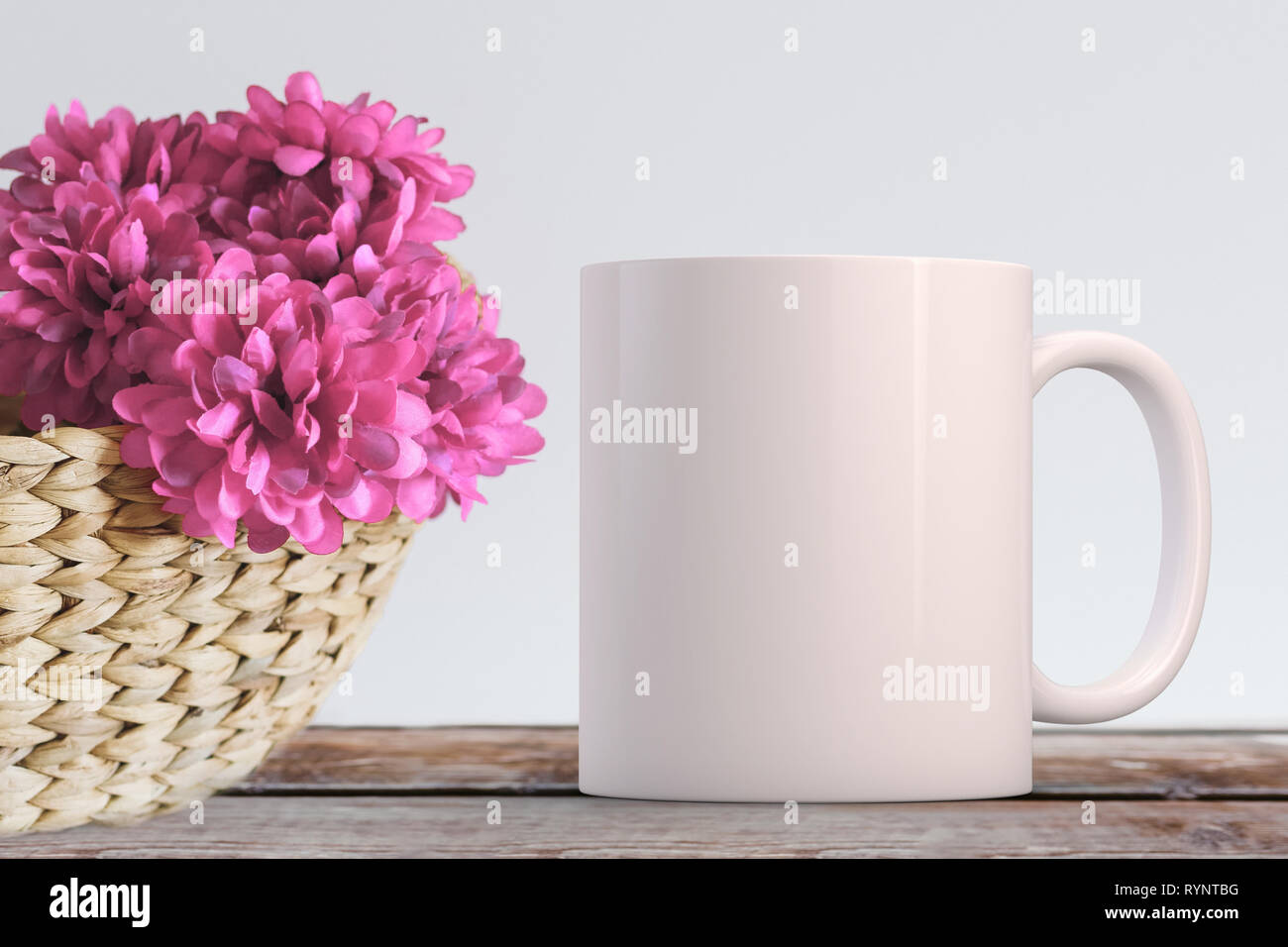 The Mug Coffee >> Blank White Mug Coffee Mug Next To Silk Flowers In A Basket Perfect