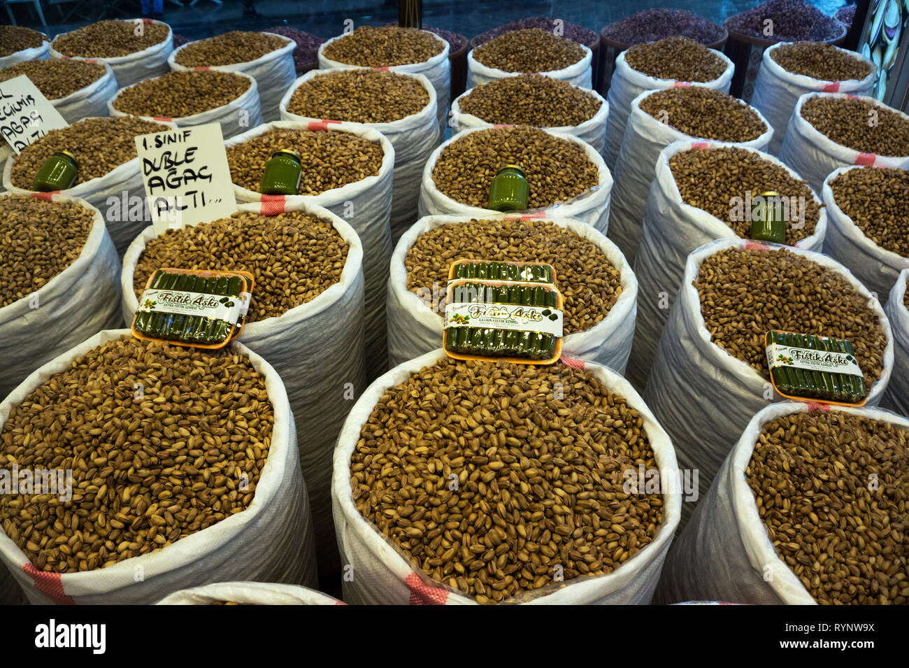Pistachio is most famous agricultural product of Gaziantep and widely sold all around the city, Turkey. - Stock Image