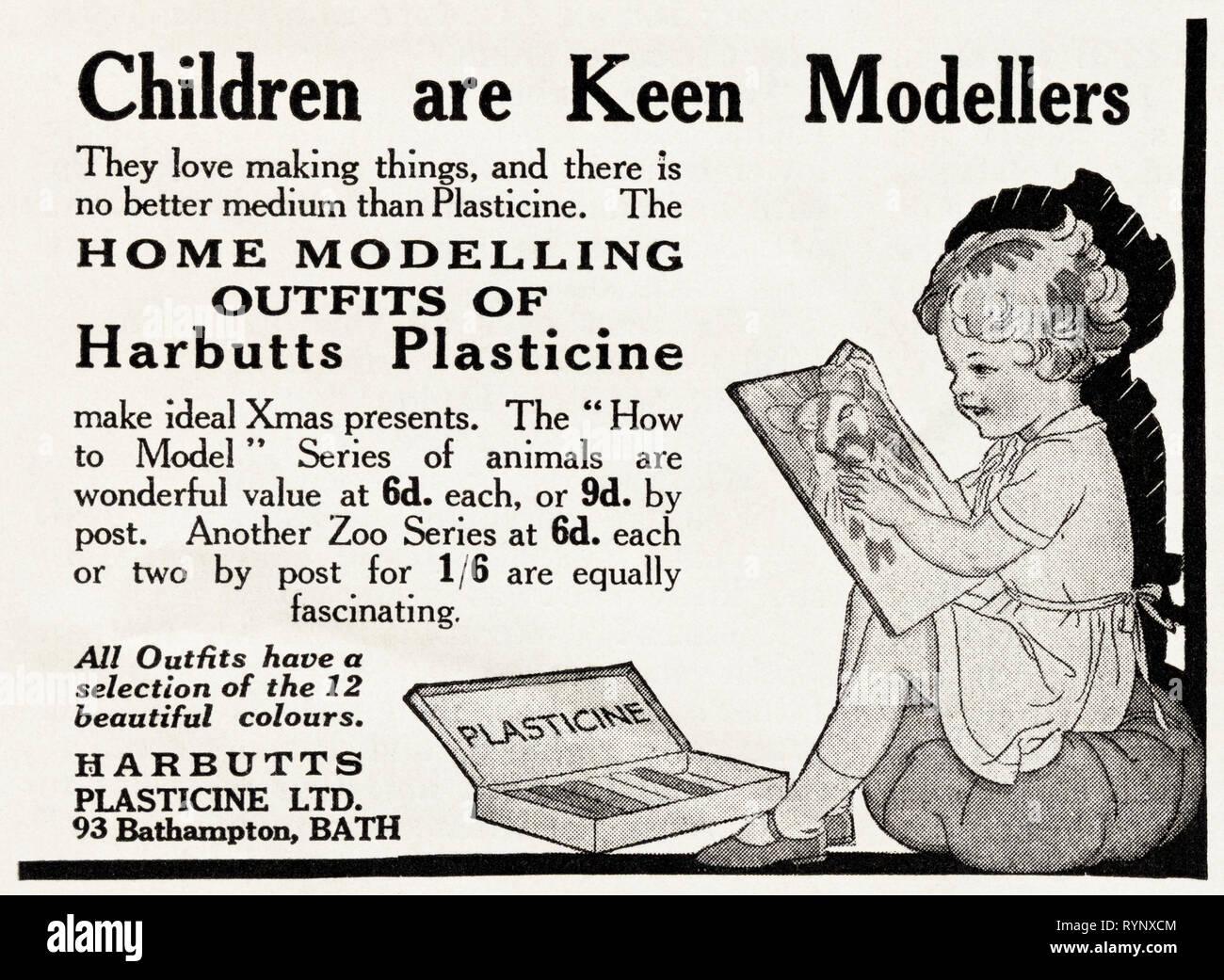 Original 1930s vintage old print advertisement from 30s English magazine advertising plasticine by Harbutts of Bathampton Bath England UK circa 1932 - Stock Image