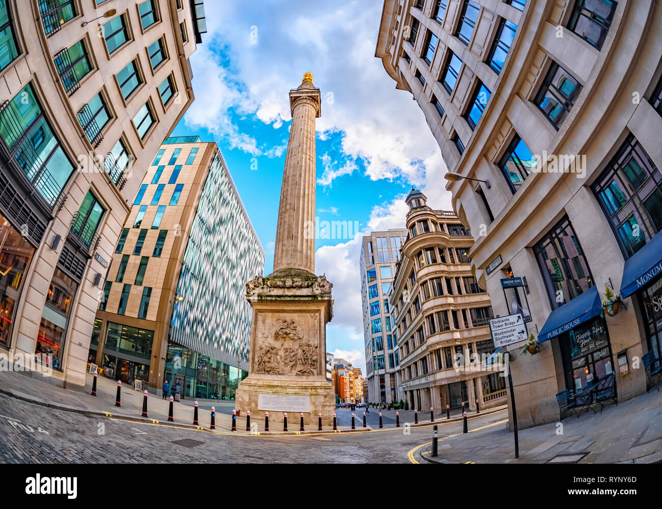 London, England, UK - March 10, 2019: Wide view of the famous British landmark The Monument to the Great Fire of London square, created by Christopher Stock Photo