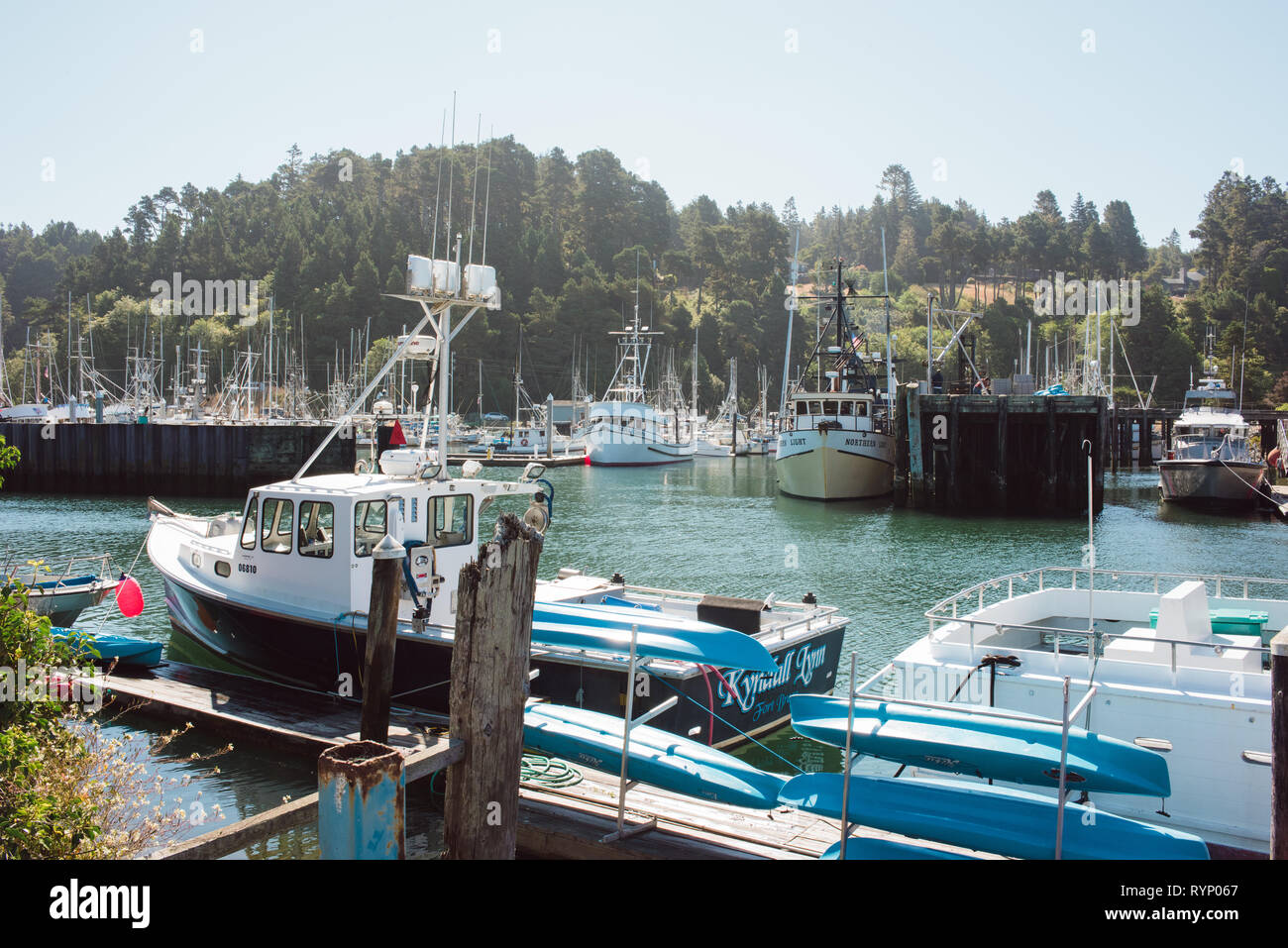 Boats and fishing supplies at rest in the harbor at Ft. Bragg, California. Stock Photo