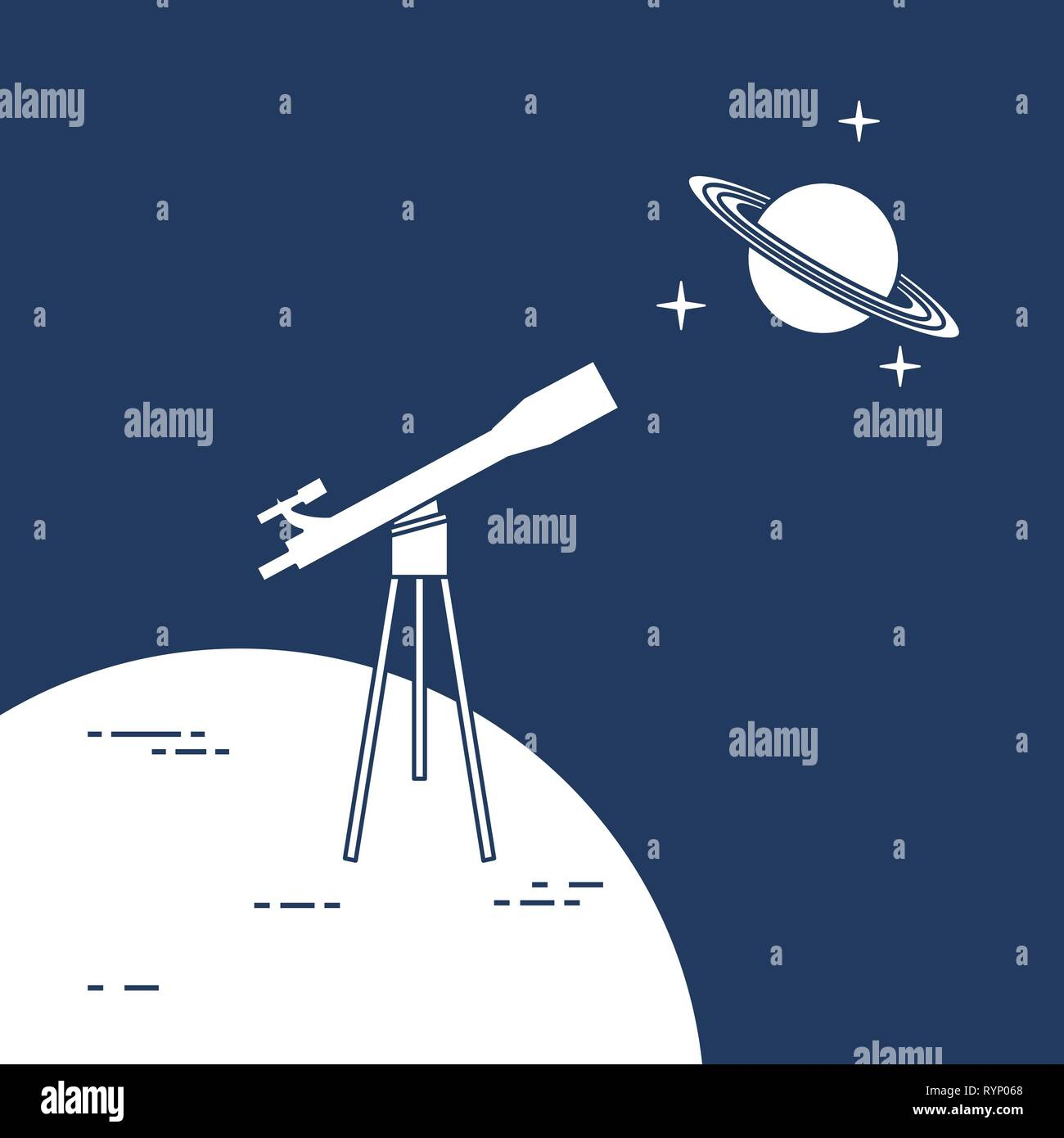Vector Illustration With Telescope Planet Saturn With Ring System Astronomy Design For Banner Poster Textile Print Stock Vector Image Art Alamy