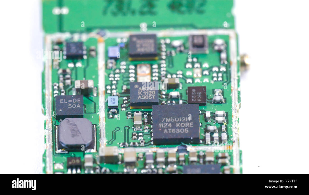 Closer look of the micro chip with some micro boards and wires on it - Stock Image