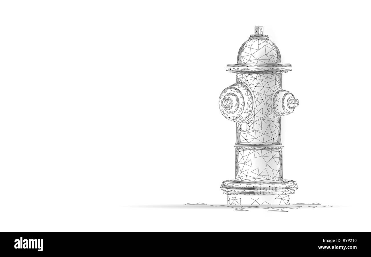 Fire hydrant low poly rescue technology concept. Polygonal white emergency fireman equipment vector illustration - Stock Image