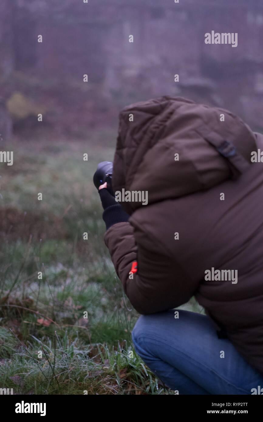 Landscape Photographer at work - Stock Image