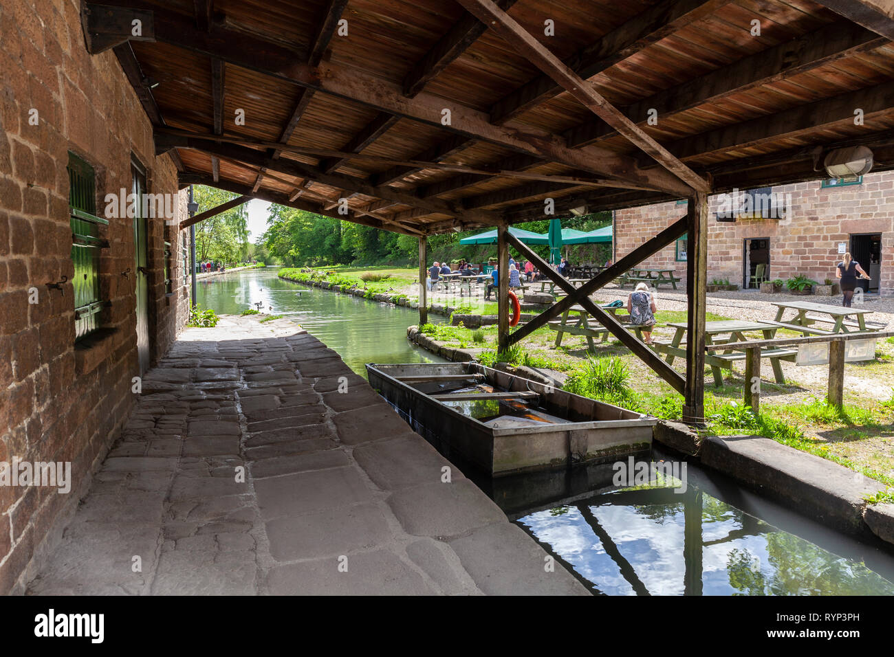 Cromford Wharf, is a small picturesque place, in the Derbyshire country side, next to the canal, it has a small cafe on site - Stock Image