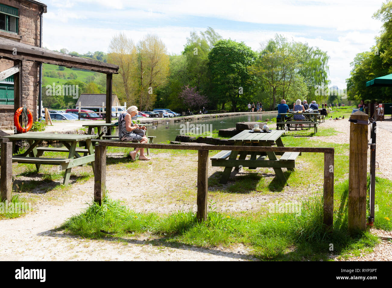 Cromford Wharf, is a small picturesque place, in the Derbyshire country site, next to a canal, it has a small cafe on site - Stock Image