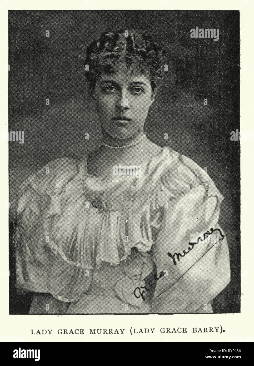 Vintage photograph of Lady Grace Murray (Lady Grace Barry), 1890s, 19th Century, Victorian - Stock Image