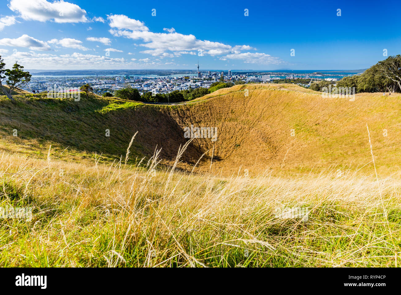 Mt Eden Volcanic Cones and View to Auckland City, New Zealand - Stock Image