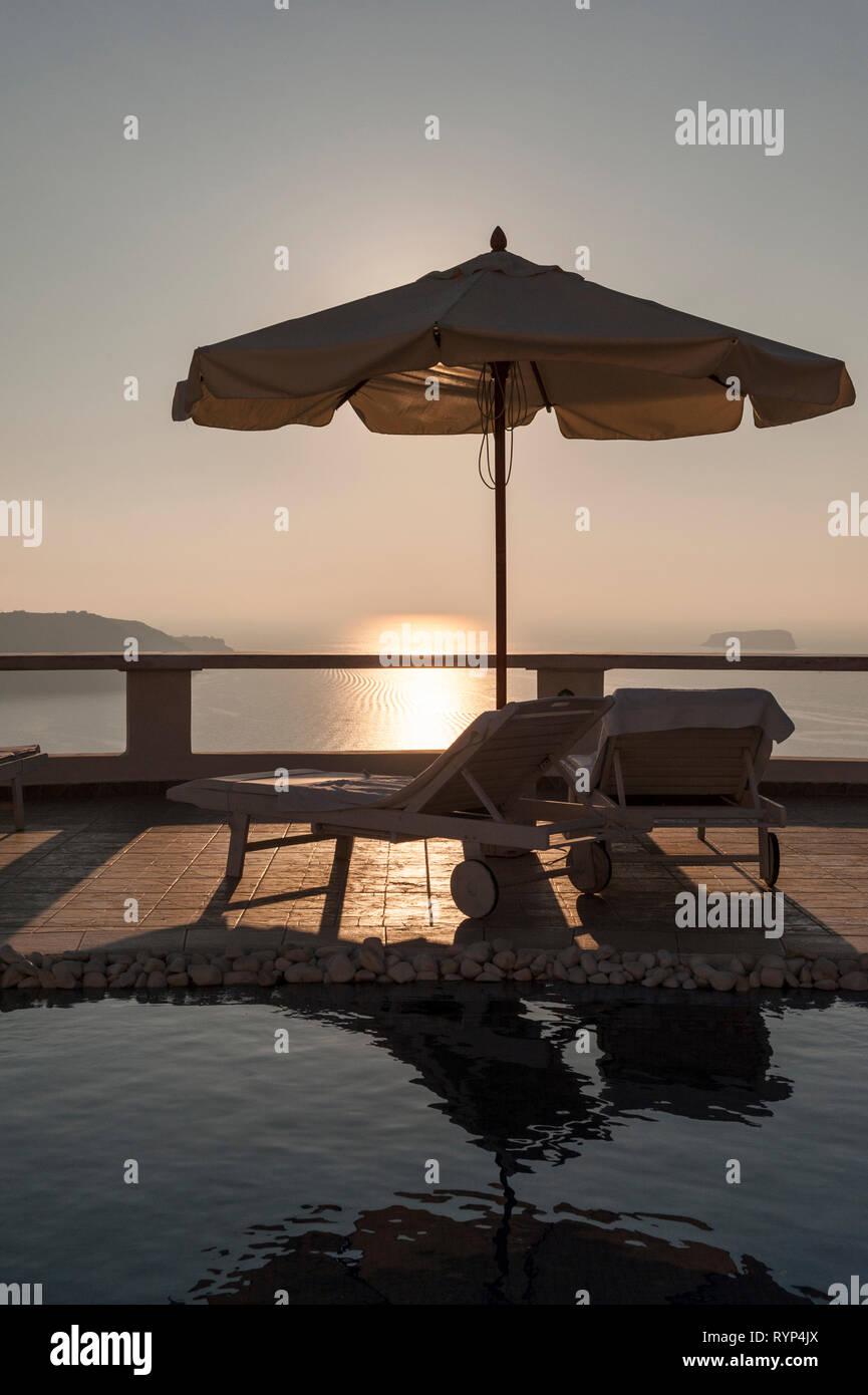 Santorini, Caldera View under sunset - Stock Image