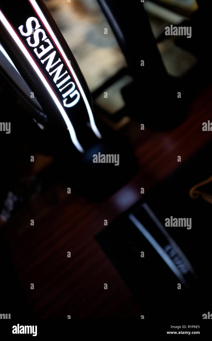 Beer,Stout,Guinness,bar,promotional,pump,pub,abstract,reflection,England,UK, - Stock Image