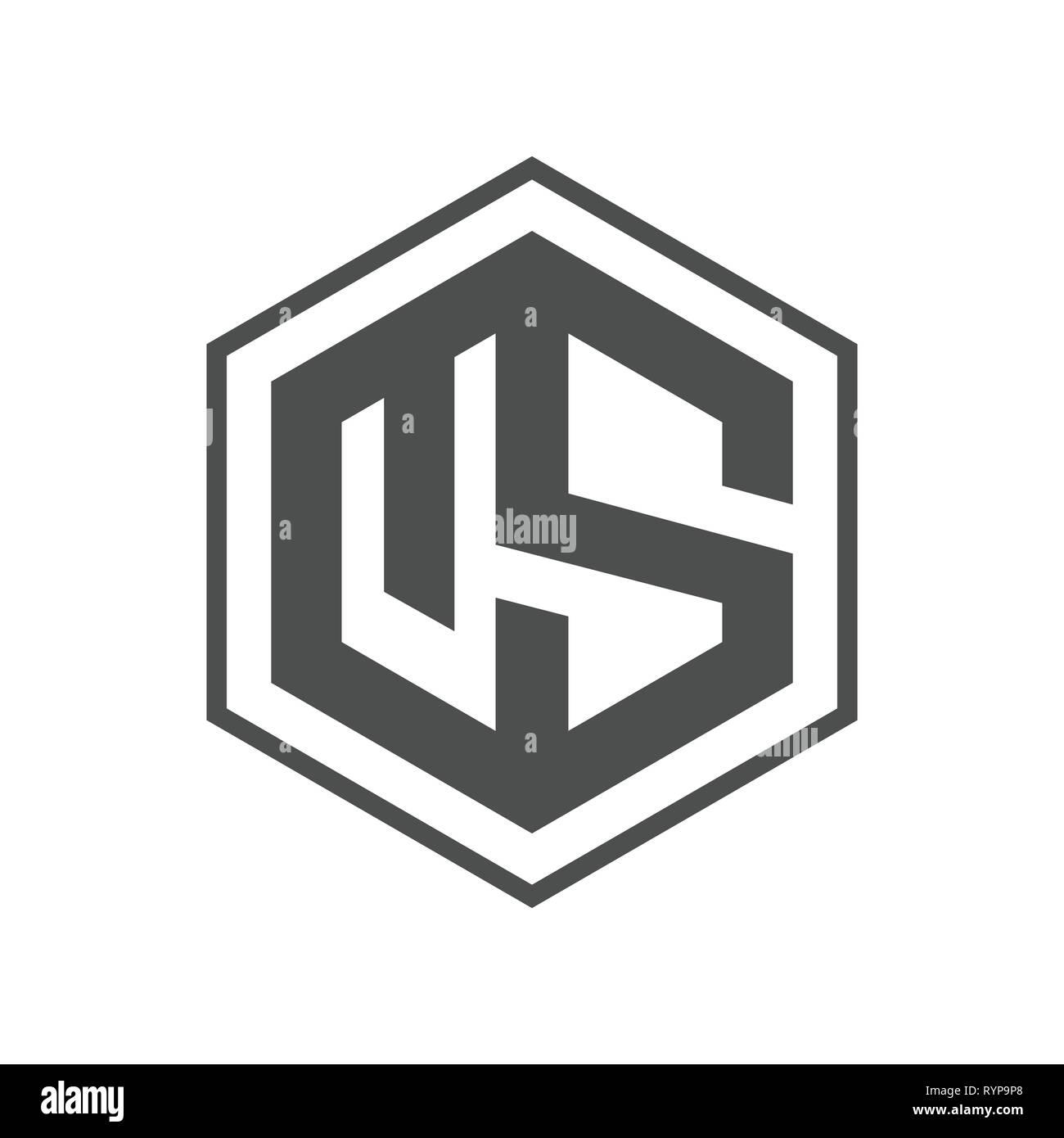 Hexagon - US hexagon Vector logo concept illustration. Hexagon geometric polygonal logo. Hexagon abstract logo. Vector logo template. Design element. - Stock Vector