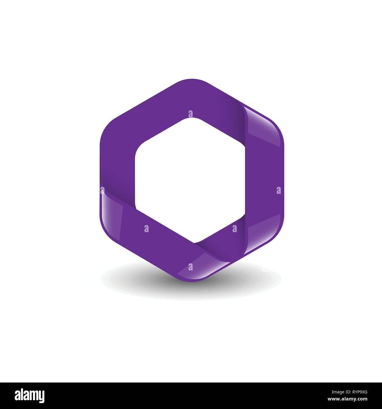 Hexagon - Branding purple color hexagon vector logo concept illustration. Design element. - Stock Image