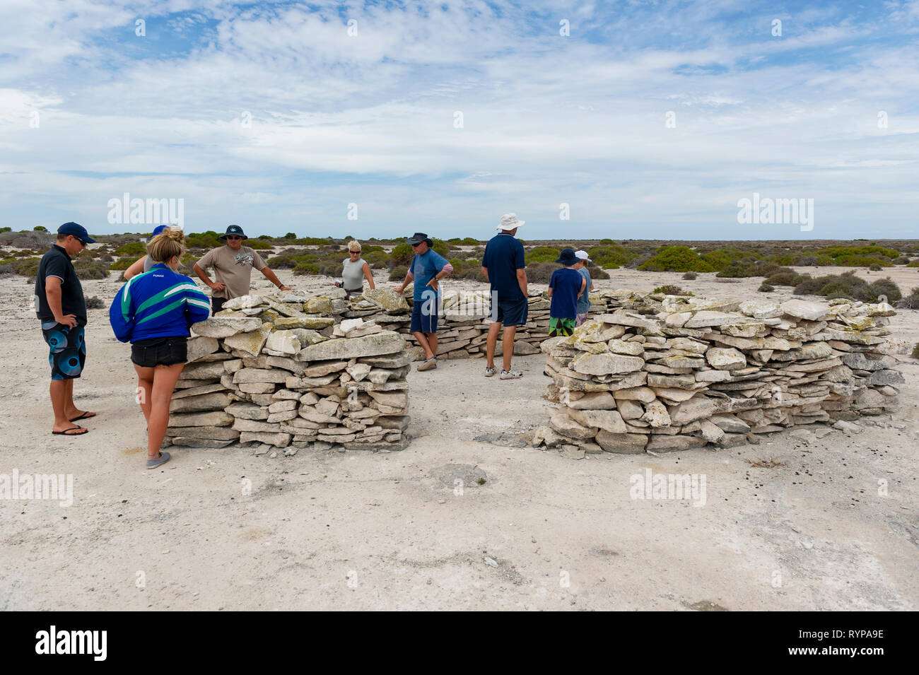 The inland fort on West Wallabi island was constructed by Dutch soldier Wiebbe Hayes and other survivors of the Batavia shipwreck in 1629, it is the o - Stock Image