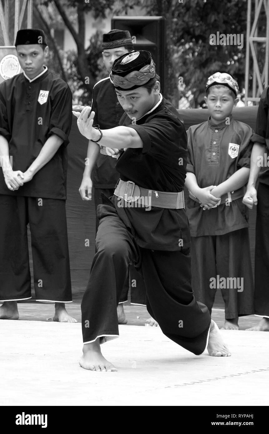 Silat Betawi, Pencak Siat, Indonesia Martial Art, perform at festival at Ciganjur,  South Jakarta. - Stock Image