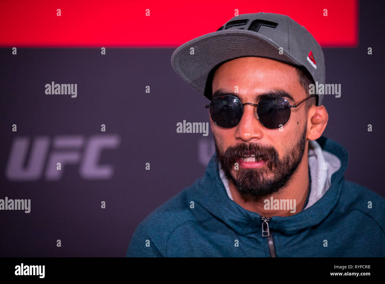 London, UK. 14th Mar, 2019. Jose Quinonez (Mexico) - UFC bantamweight during the UFC Fight Night 147 Ultimate Media Day at Glaziers Hall, 9 Montague Cl, London, SE1 9DD, England on 14 March 2019. Photo by Andy Rowland. Credit: Andrew Rowland/Alamy Live News Stock Photo