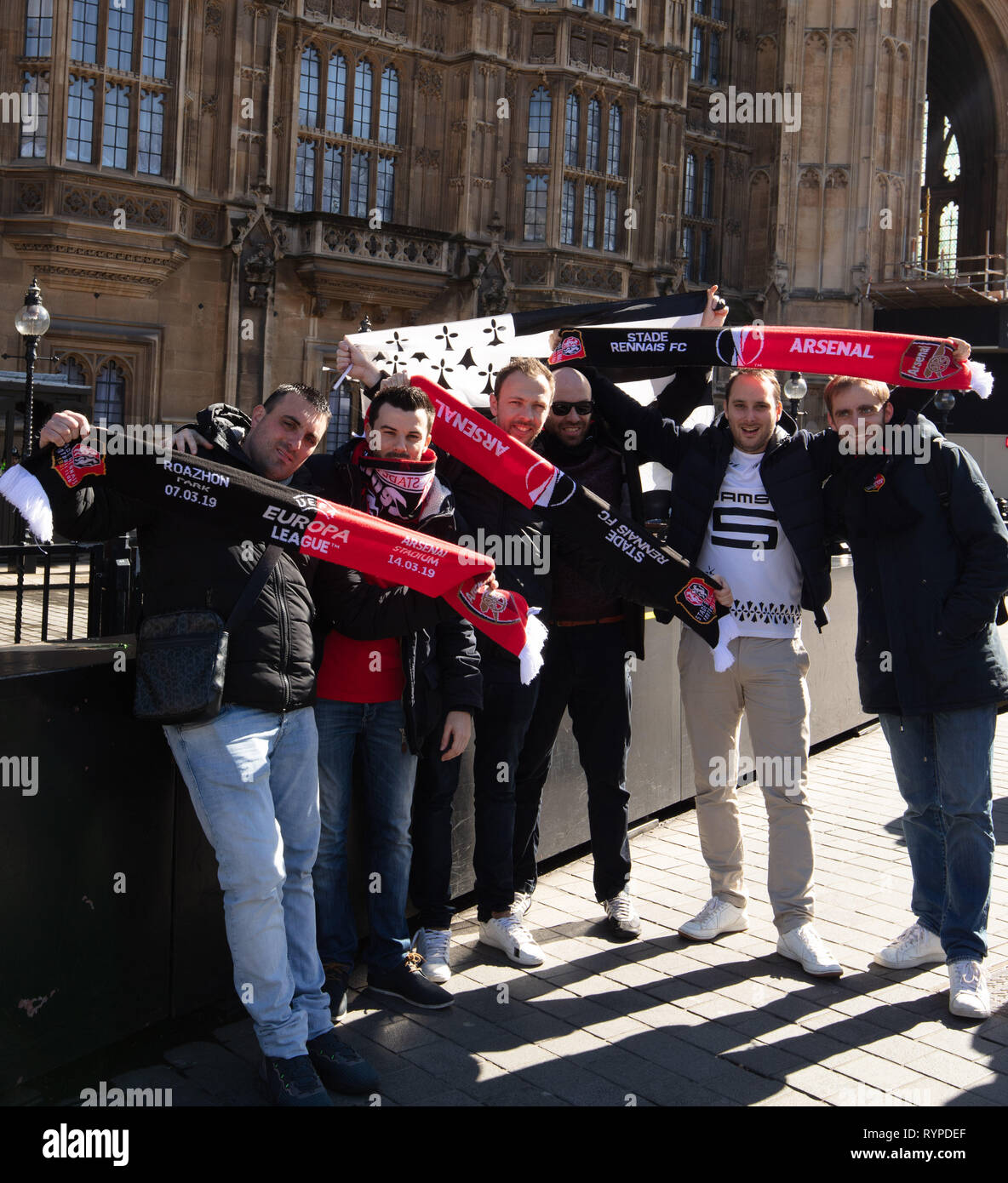 London, UK. 14th Mar, 2019. Supporters of the French soccer club Rennes, which will play Arsenal in the Europa League, in front of the House of Parliament today. Credit: Joe/Alamy Live News Stock Photo