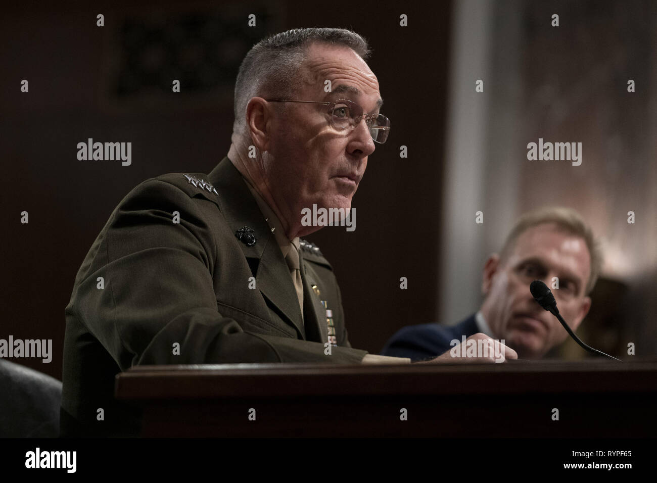 Washington, District of Columbia, USA. 14th Mar, 2019. General JOSEPH F. DUNFORD, Jr., USMC, Chairman Of The Joint Chiefs Of Staff, testifies before the Senate Armed Services Committee Hearing: Department of Defense Budget Posture Credit: Douglas Christian/ZUMA Wire/Alamy Live News Stock Photo