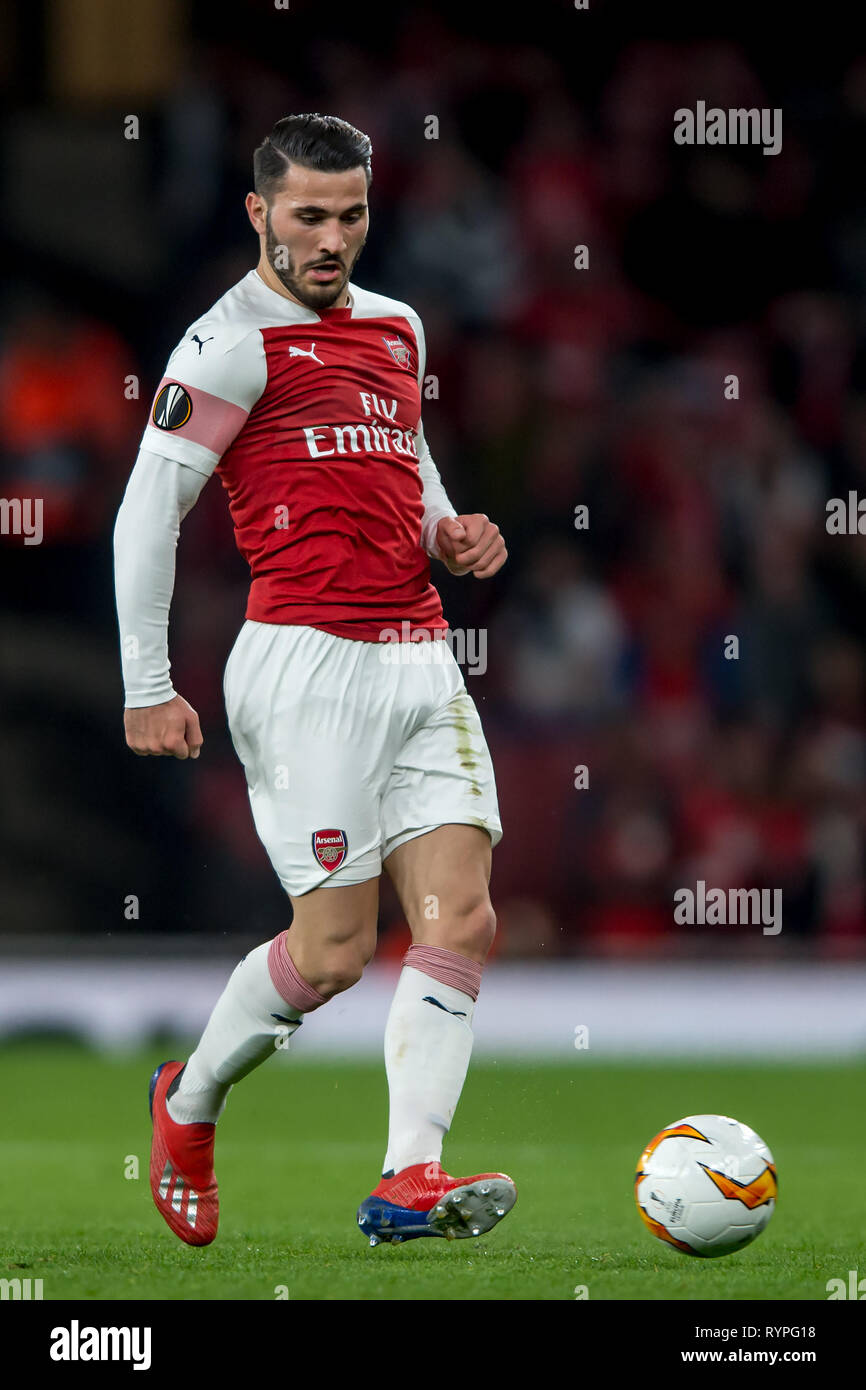 London, UK. 14th Mar, 2019. Sead Kolašinac of Arsenal during the UEFA Europa League Round of 32 second leg match between Arsenal and Rennes at the Emirates Stadium, London, England on 14 March 2019. Photo by Salvio Calabrese.  Editorial use only, license required for commercial use. No use in betting, games or a single club/league/player publications. Credit: UK Sports Pics Ltd/Alamy Live News - Stock Image