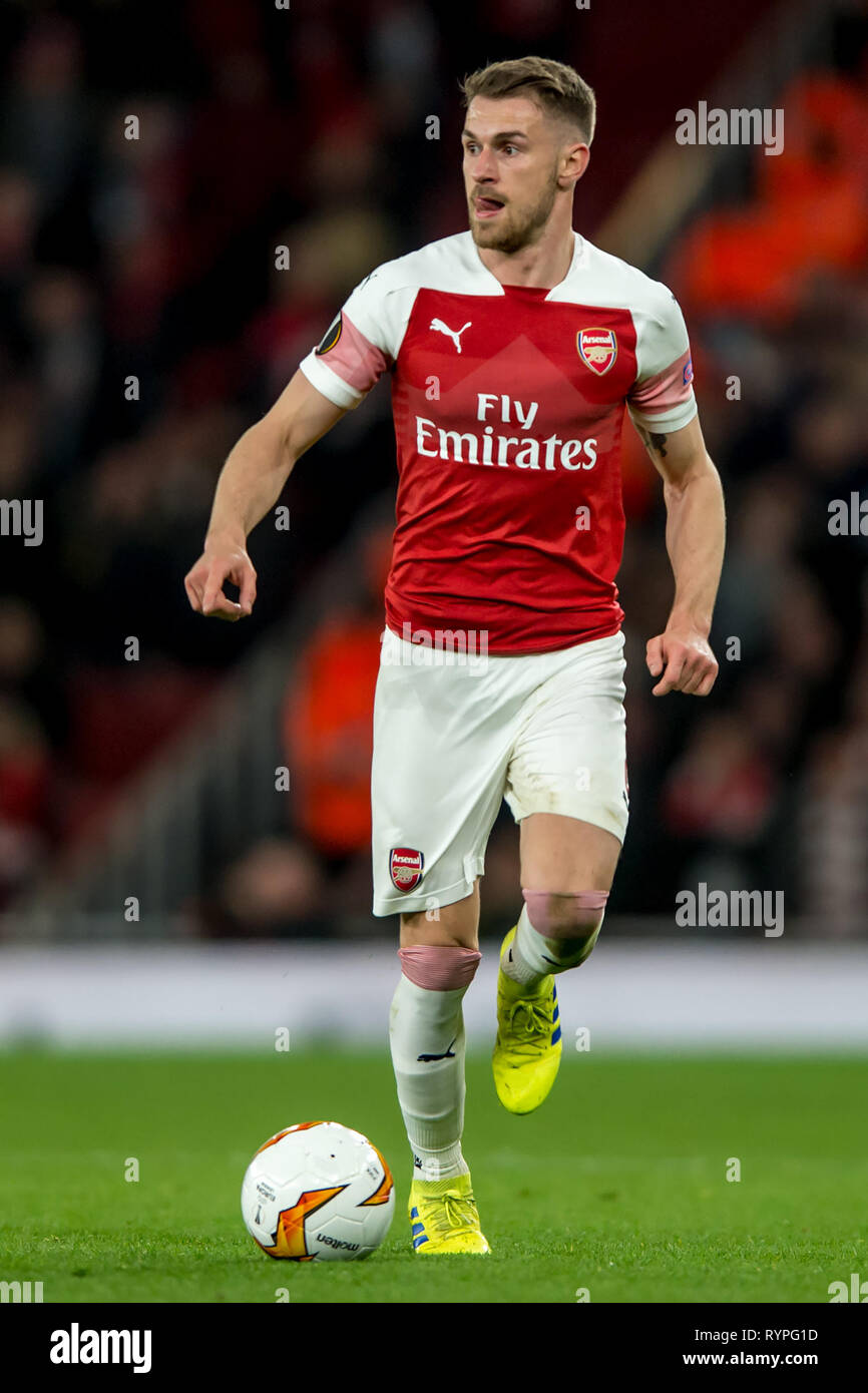 London, UK. 14th Mar, 2019. Aaron Ramsey of Arsenal during the UEFA Europa League Round of 32 second leg match between Arsenal and Rennes at the Emirates Stadium, London, England on 14 March 2019. Photo by Salvio Calabrese.  Editorial use only, license required for commercial use. No use in betting, games or a single club/league/player publications. Credit: UK Sports Pics Ltd/Alamy Live News - Stock Image