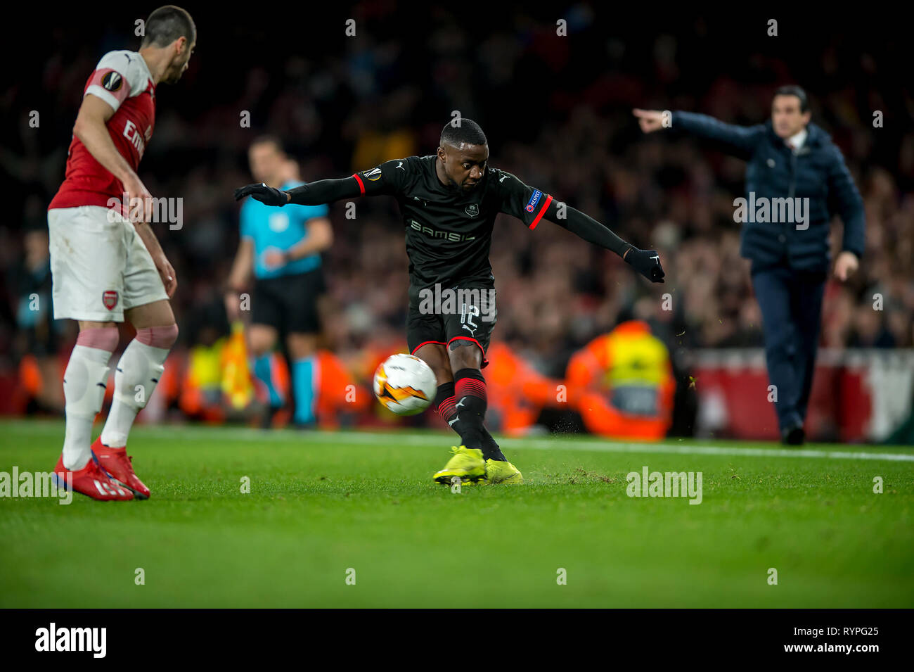 London, UK. 14th Mar, 2019. James Lea Siliki of Rennes during the UEFA Europa League Round of 32 second leg match between Arsenal and Rennes at the Emirates Stadium, London, England on 14 March 2019. Photo by Salvio Calabrese.  Editorial use only, license required for commercial use. No use in betting, games or a single club/league/player publications. Credit: UK Sports Pics Ltd/Alamy Live News Stock Photo
