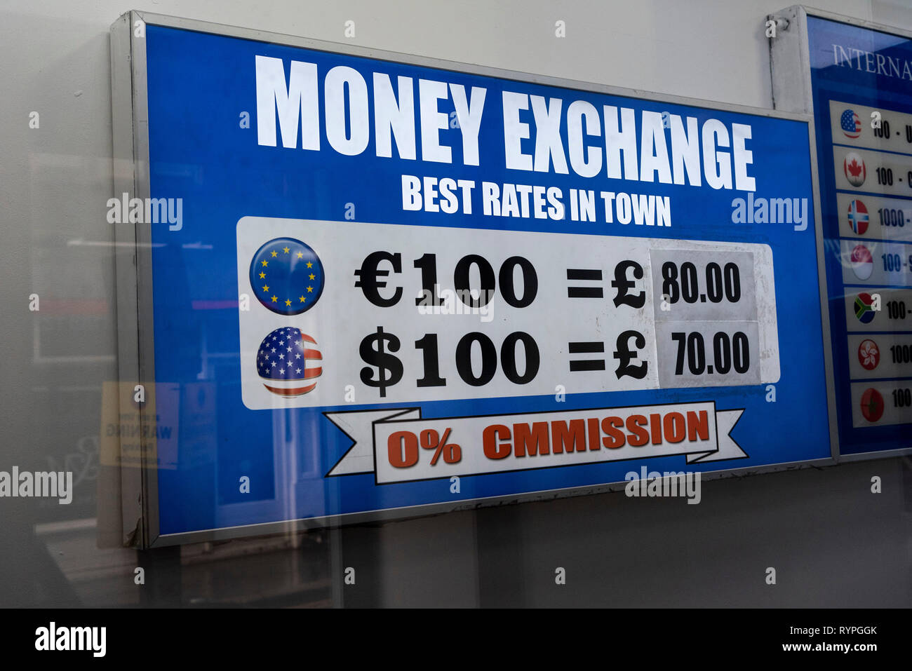 London, UK. 14th Mar, 2019. The photo taken on March 14, 2019 shows the currency rates displayed in a money exchange in London, Britain. British MPs on Thursday voted overwhelmingly to ask the European Union (EU) for an extension to Article 50 in the troubled Brexit process. Credit: Ray Tang/Xinhua/Alamy Live News Stock Photo