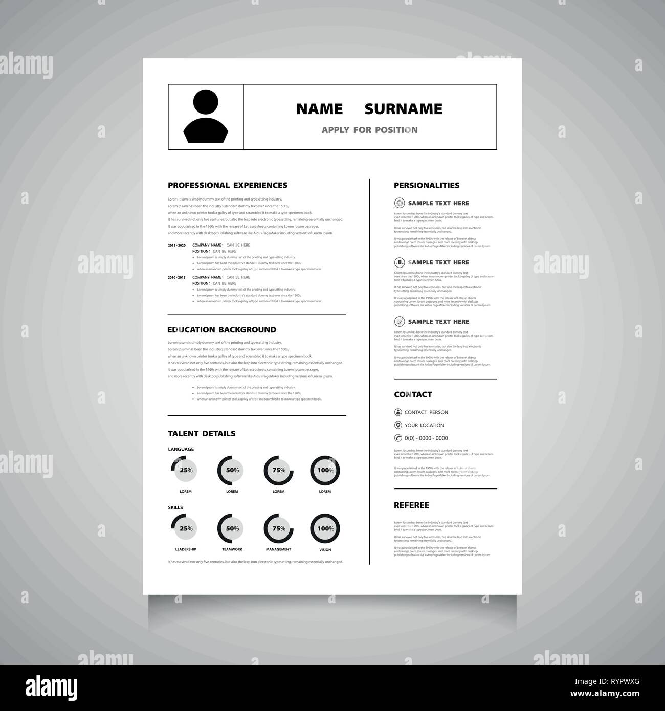 Modern resume cv form of black color vector. You can use for apply for a job that you love. illustration vector eps10 - Stock Image