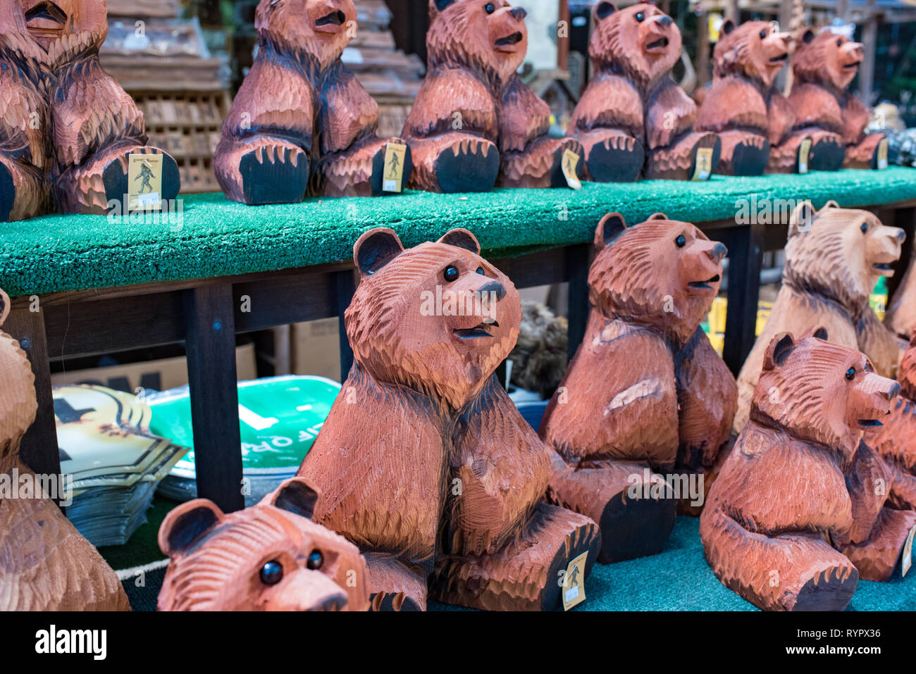 Fun tourist attraction and wood carvings that have nothing to do with Bigfoot near Garberville, California. - Stock Image