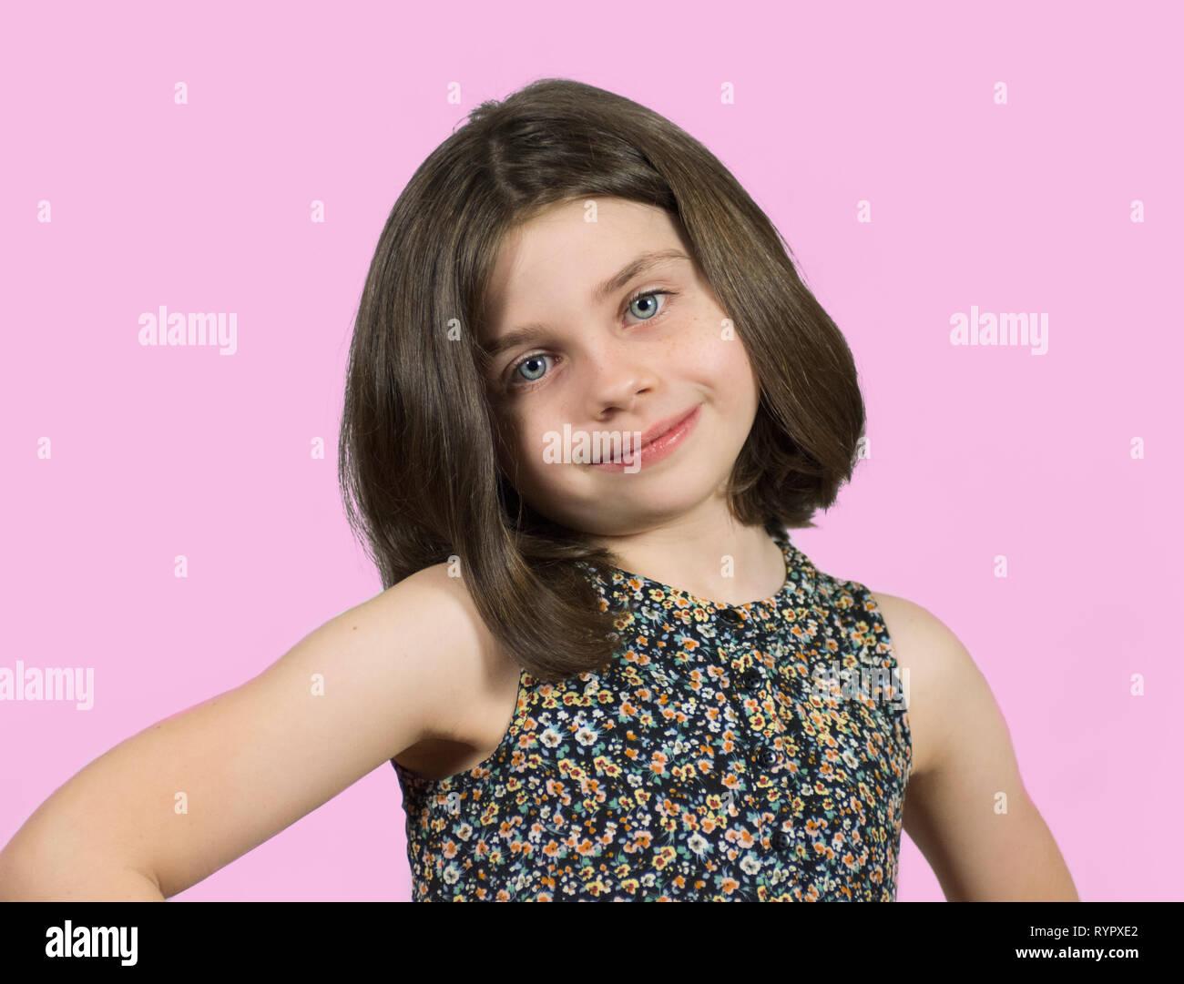 Pleasant Confident Little Girl With Short Hair With Pink Background Stock Schematic Wiring Diagrams Phreekkolirunnerswayorg