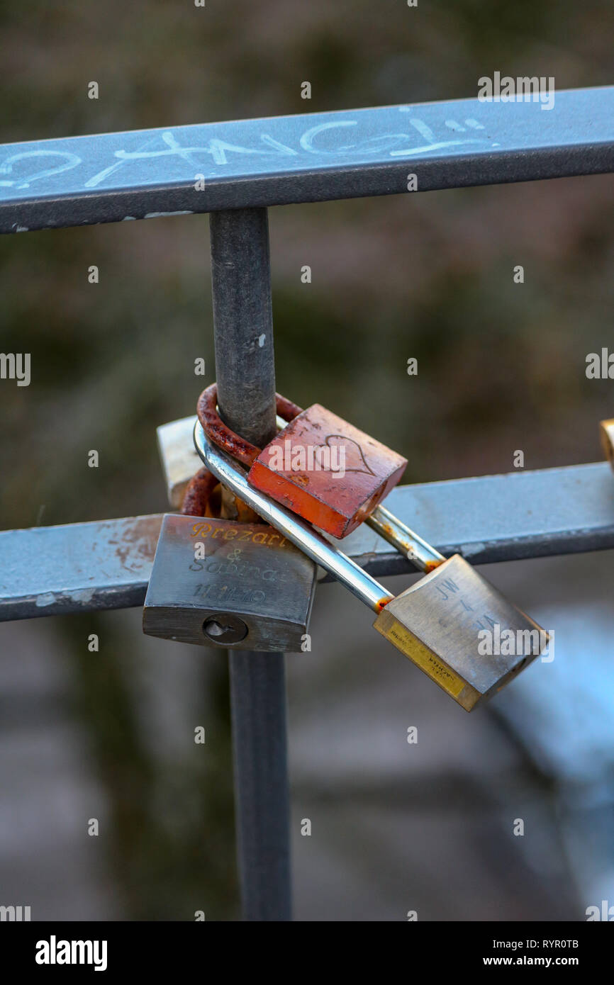 Padlock as a promise of Love - Stock Image