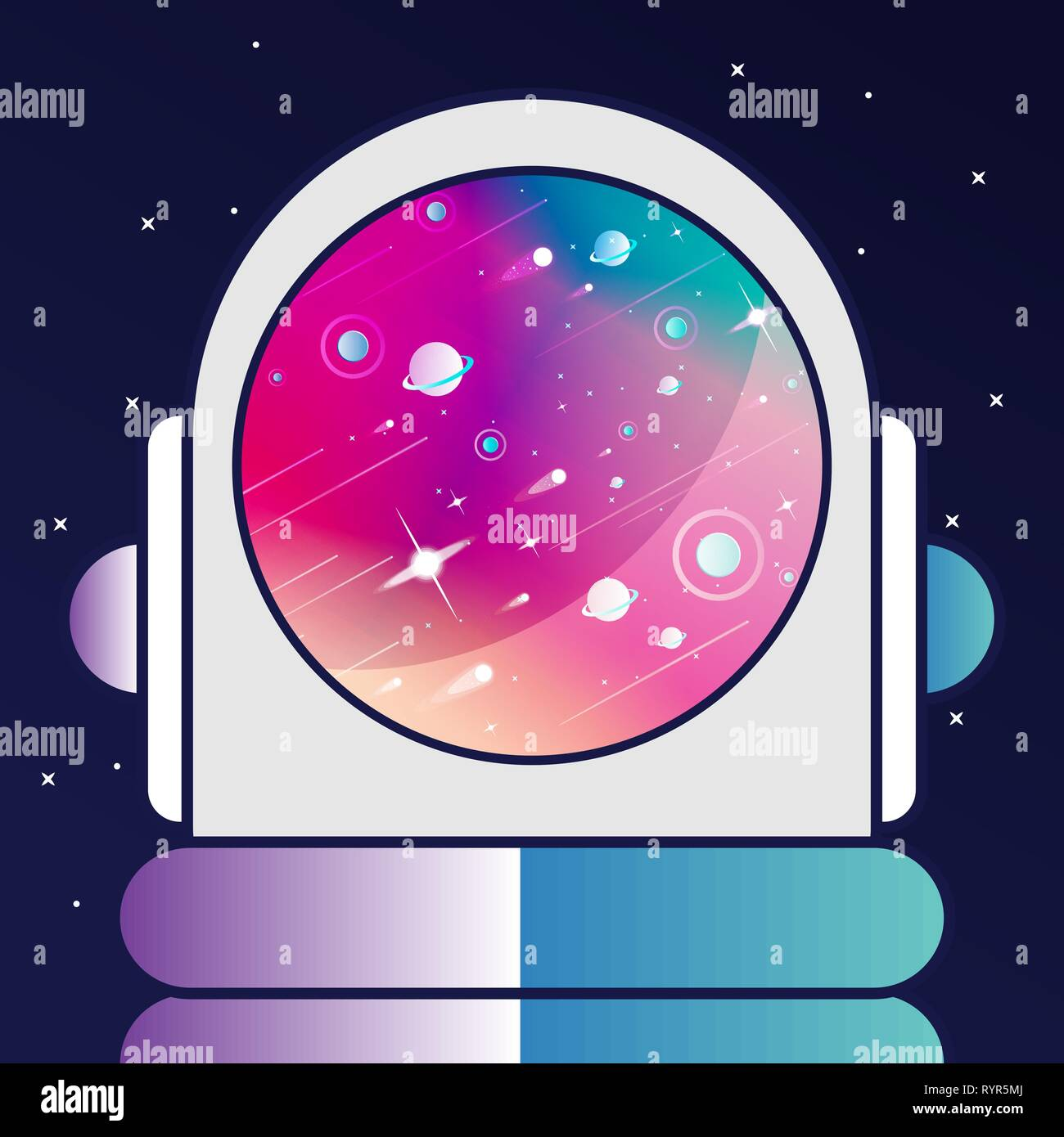 Astronaut in a galaxy background, fare from earth, another solar system. Comets, planets, stars and asteroid in a modern flat-design. - Stock Vector
