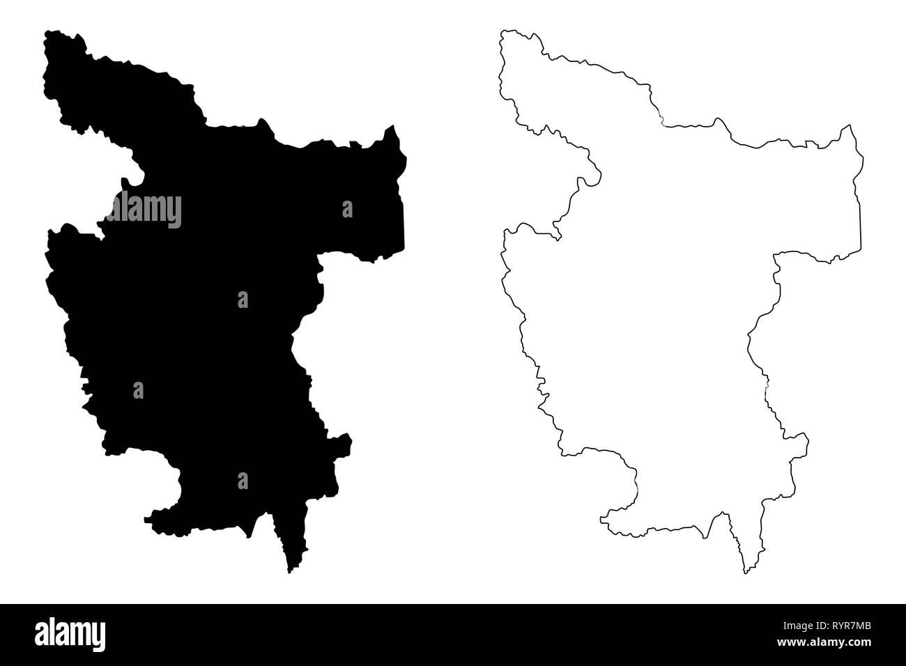 Department of San Martin (Republic of Peru, Regions of Peru) map vector illustration, scribble sketch San Martin map - Stock Vector