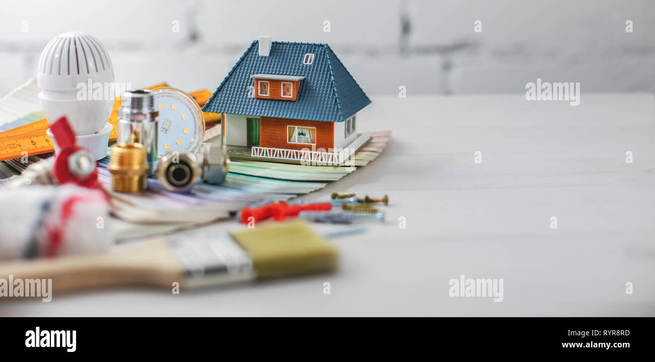 house improvement and repair tools. copy space - Stock Image