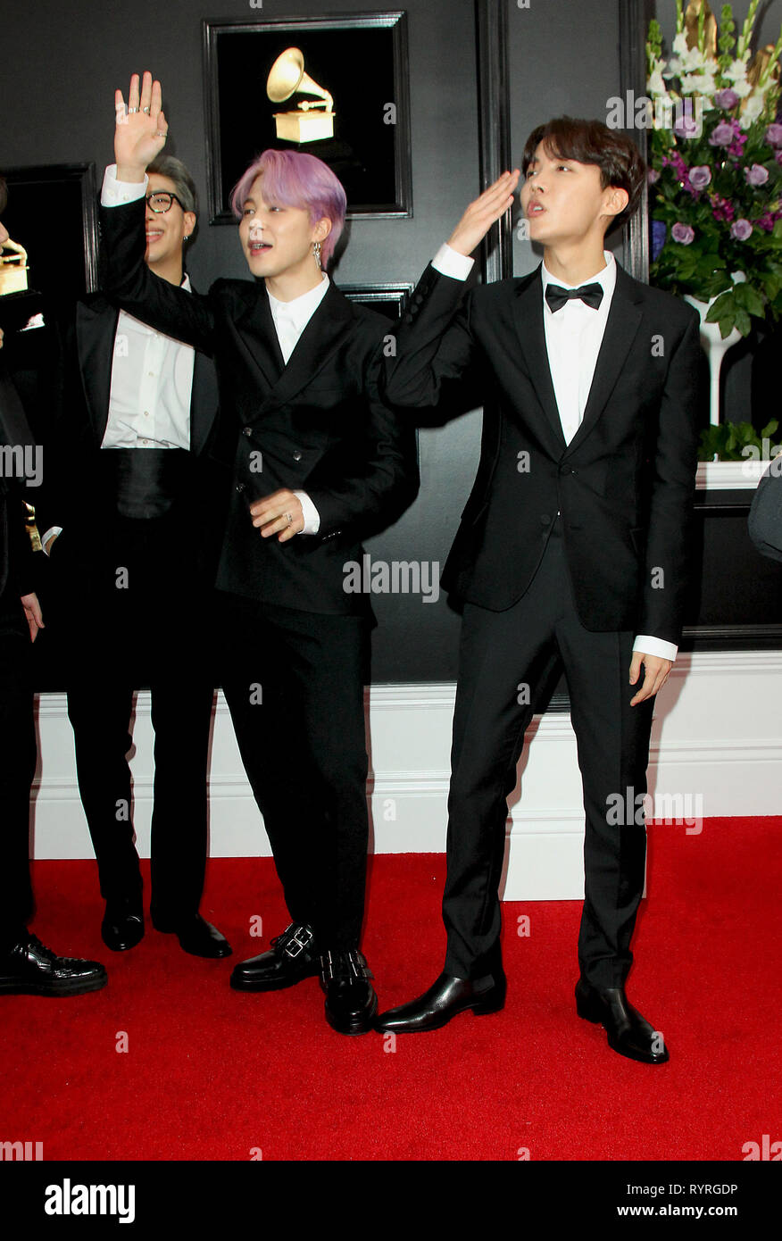 61st annual grammy awards 2019 arrivals held at the staples center in los angeles california featuring rm jimin j hope of korean boy band bts where los angeles california united states when 10 alamy