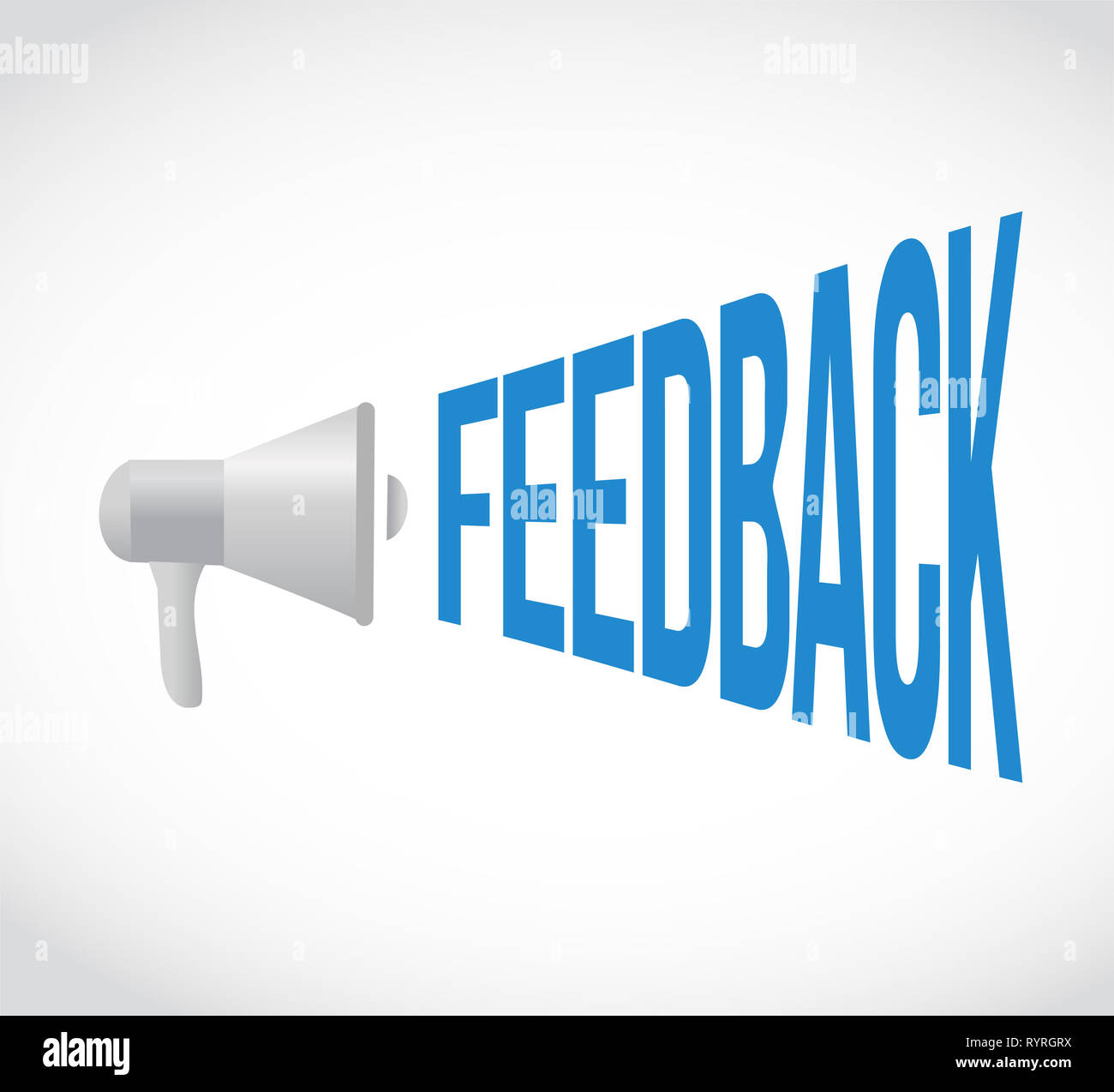feedback loudspeaker message isolated over a white background Stock Photo