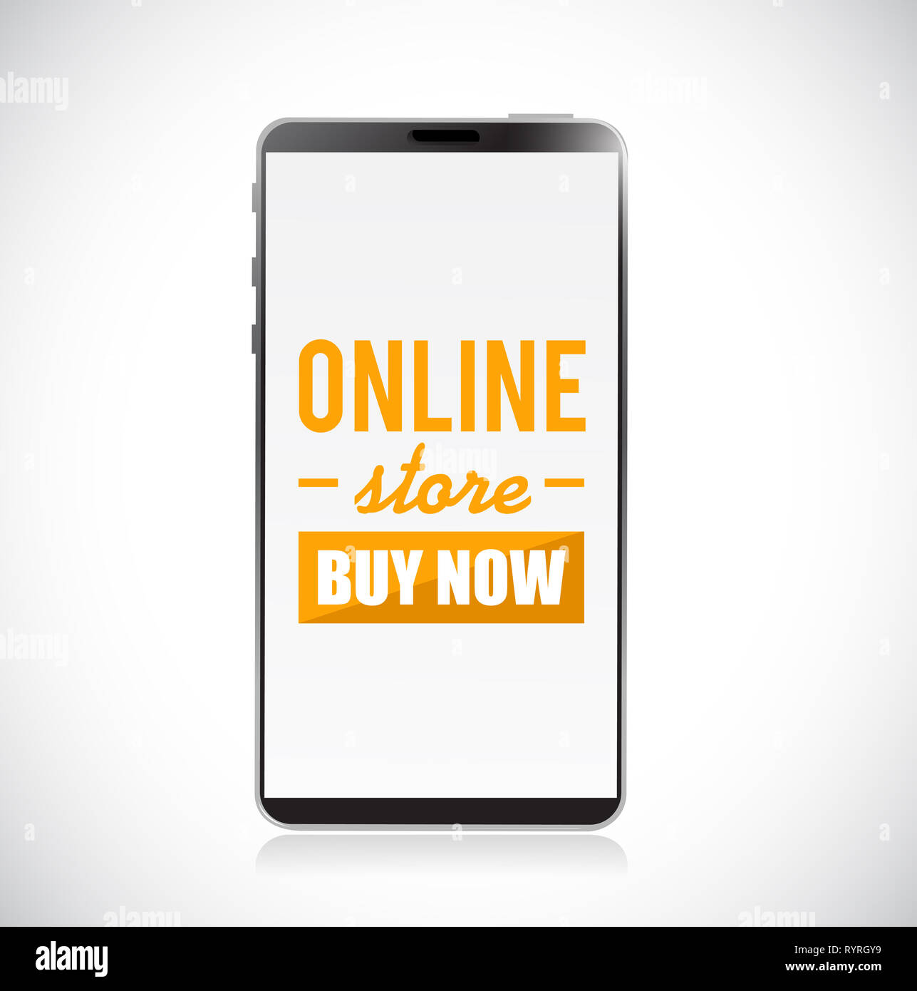 online store buy now sign on a mobile phone concept illustration over a white background Stock Photo