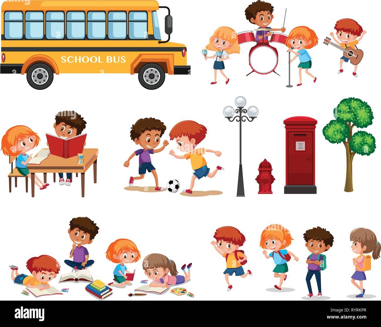 Set of school kids isolated illustration - Stock Vector