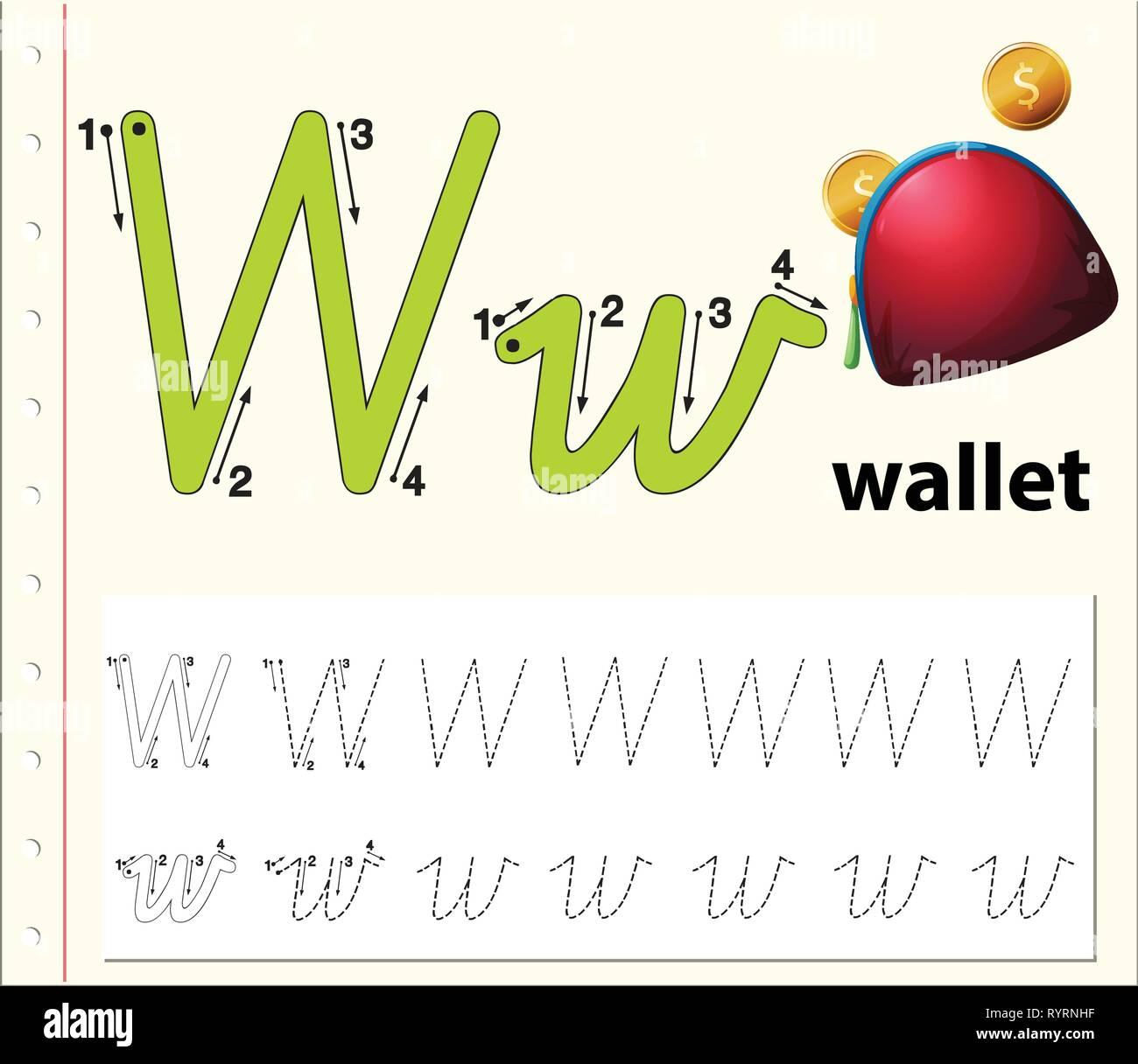 Letter W tracing alphabet worksheets illustration Stock Vector Art ...