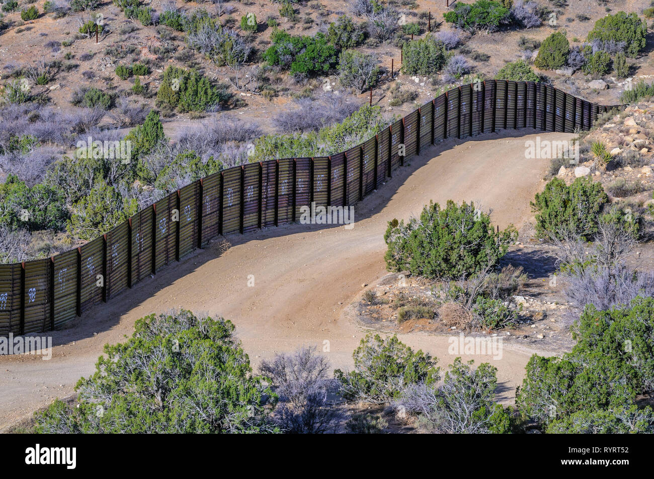 US Border fence, landing mat style construction, Jacumba California Stock Photo