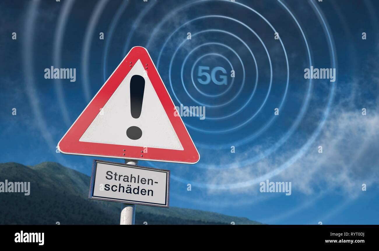 Warning sign of blue sky, warning of 5G radiation, 5G network, Germany Stock Photo