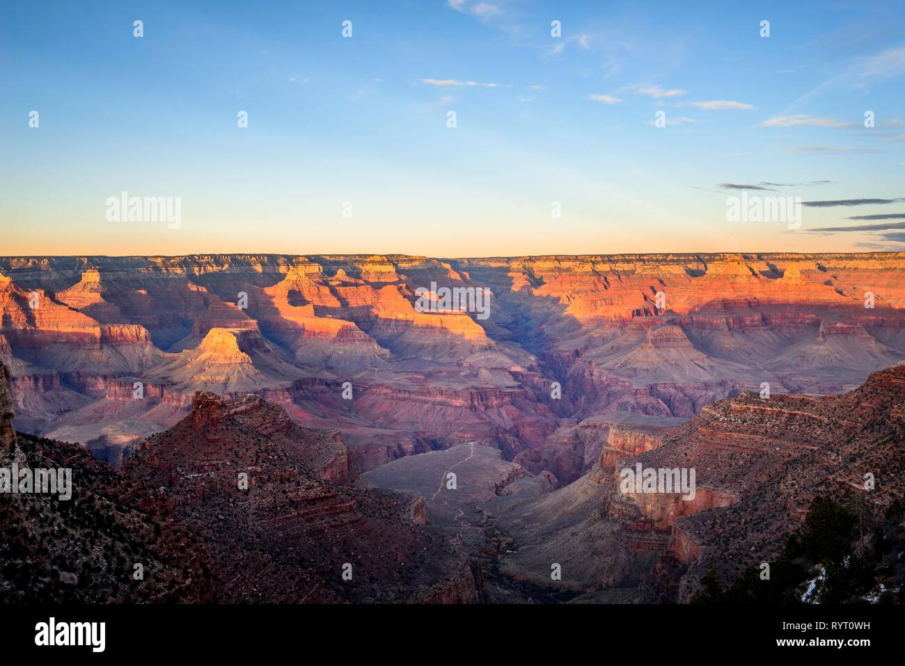Gorge of the Grand Canyon, view from Bright Angel Trail, eroded rock landscape, South Rim, Grand Canyon National Park - Stock Image